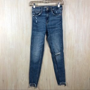 Zara Distressed Raw Ankle Skinny Jeans - Size 2